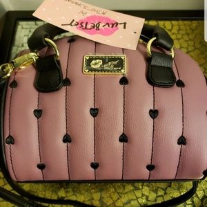 Betsey Johnson purse satchel crossbody plum mauve